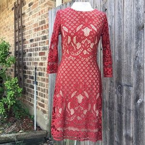 Red Elbow Sleeve Dress with Lace Detail